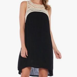 Kozlyne Crochet Cutout Dress Black Ivory Size M